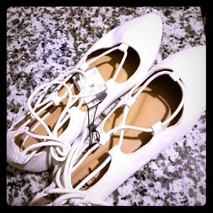 Brand New White lace up flats Rue 21